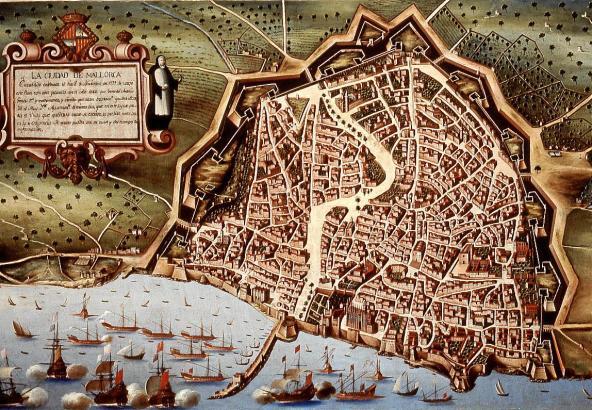 Auf diesem Ölbild aus dem Jahr 1647 ist der frühere Verlauf von Sa Riera gut zu erkennen: Er floss über die Rambla unweit der Ka