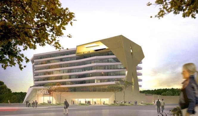 Die Fotomontage gibt einen Eindruck davon, wie das Hotel einmal aussehen soll.