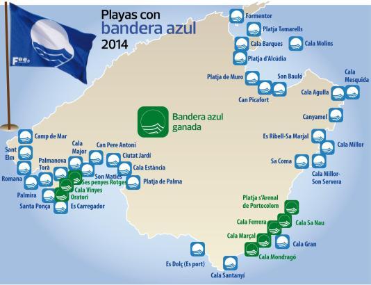 Blaue Flaggen 2014: In grüner Farbe sind die acht Neuzugänge eingetragen.
