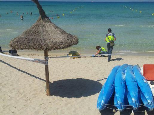 Polizeibeamte riegelten den Strandabschnitt ab.