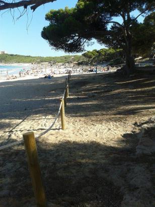 Mit Pfählen und einem Seil ist derzeit ein Teil der Cala Agulla abgesperrt.