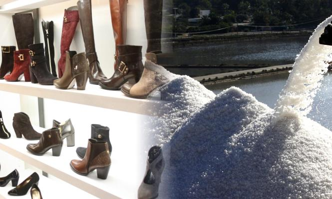 Die Fotomontage zeigt Mallorcas wichtigste Exportgüter: Meersalz aus den Salinen (r.) und Schuhe.