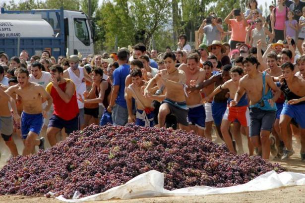 Ran an die Trauben: Jugendliche bei dem Volksfest in Binissalem.