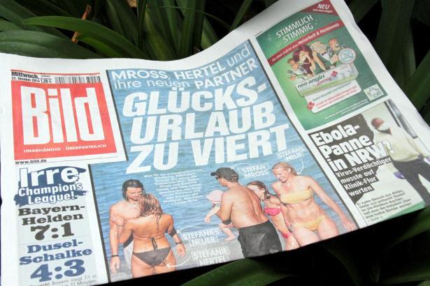 Die Titelseite der Bild-Zeitung zum Urlaub der Volksmusikstars Stefanie Hertel und Stefan Mross.