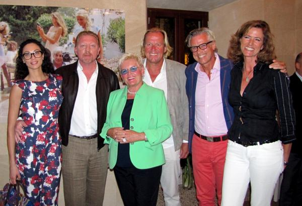 Bei der Vernissage im Hotel Castell Son Claret (von links nach rechts): Lilly und Boris Boris Becker, Christine Kühne (Ehefrau v