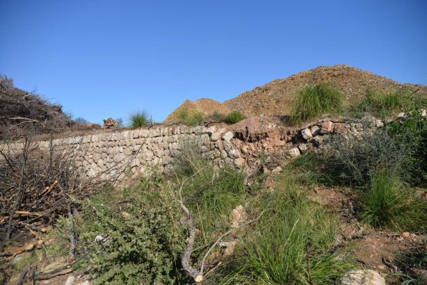 Eine der umgestürzten Mauern in den Bergen von Andratx.
