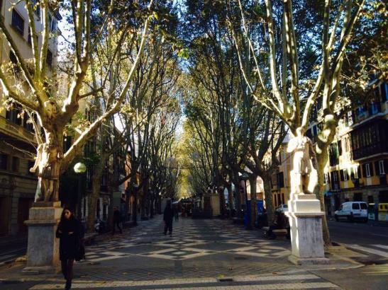 Palma, hier mit der herbstlichen Rambla, ist auch in der Nebensaison ein zunehmend attraktives Ziel für den Städtetourismus.
