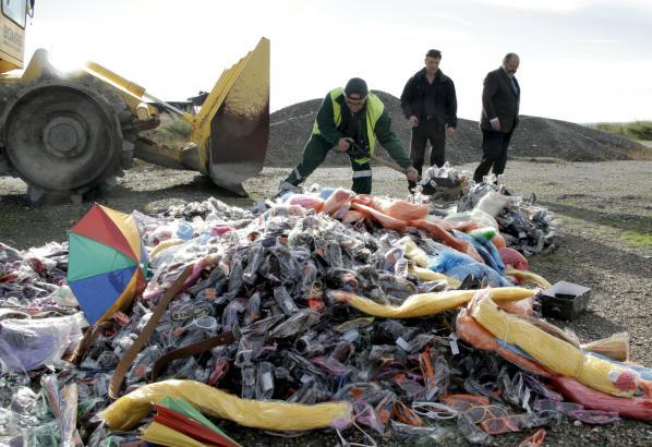 Die Ware von der Playa de Palma wird in Son Reus vernichtet.