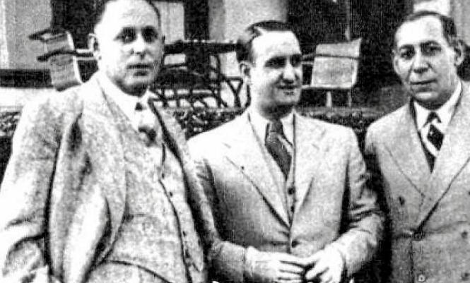 Daniel Strauss und Jules Perlowitz, hier mit dem Politiker Joaquín Gasa (m.), waren die Urheber des elektrischen Roulette-Spiels