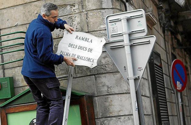 """Seit Februar 2013 heißt die """"Rambla dels Ducs de Palma"""" nur noch schlicht """"Rambla""""."""
