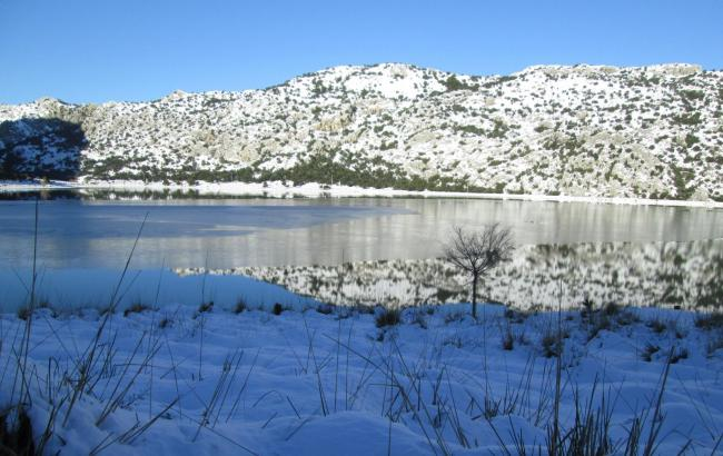 Winteridylle: Der Cúber-Stausee im Tramuntana-Gebirge enthält reichlich Wasser.