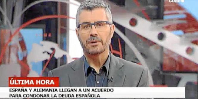 Der getürkte Fernsehbericht, demzufolge sich Spanien und Deutschland auf den Deal geeinigt haben sollen.