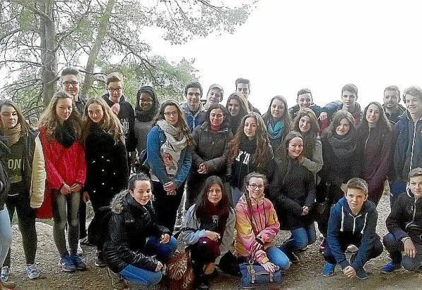 Schüler des Franz-Miltenberger-Gymnasiums aus Bayern und die mallorquinischen Austauschschüler während des Aufenthalts auf der I