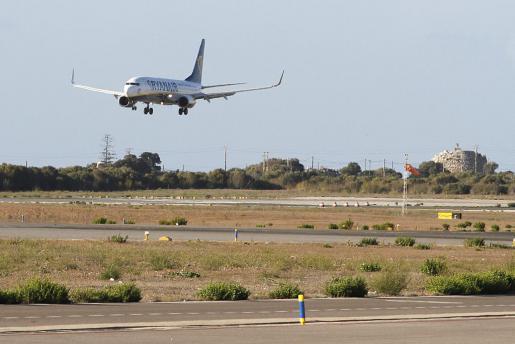 Das Archivfoto zeigt eine landende Ryanair-Maschine auf Ibiza.