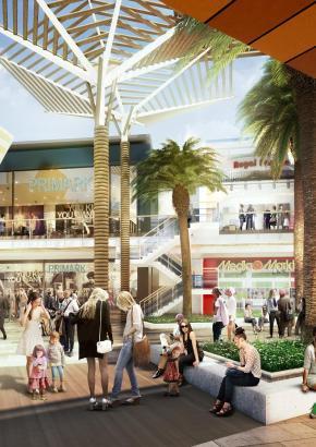 Das Einkaufszentrum S'Estada auf Mallorca im Modell.