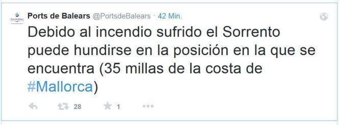 Der Tweet der balearischen Hafenbehörde.