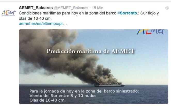 Der Tweet des balearischen Wetteramtes Aemet.