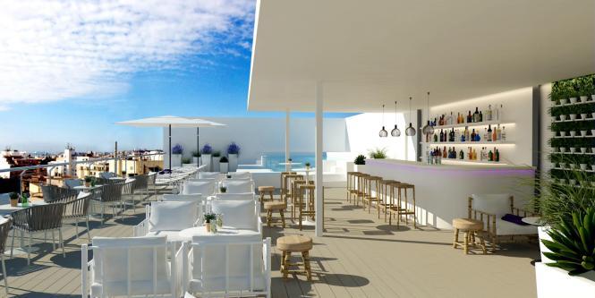 Die Dachterrasse des neuen Hotels Innside Palma Center, mitten in der Balearen-Metropole.