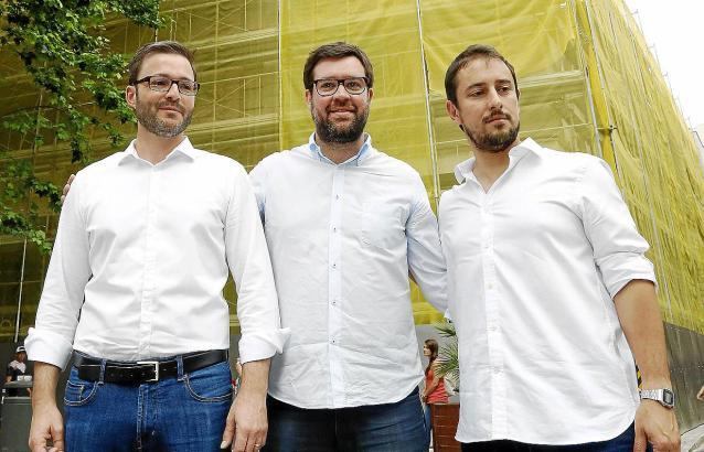 José Hila (PSOE), Antoni Noguera (Més) und Miquel Comas (Som Palma).
