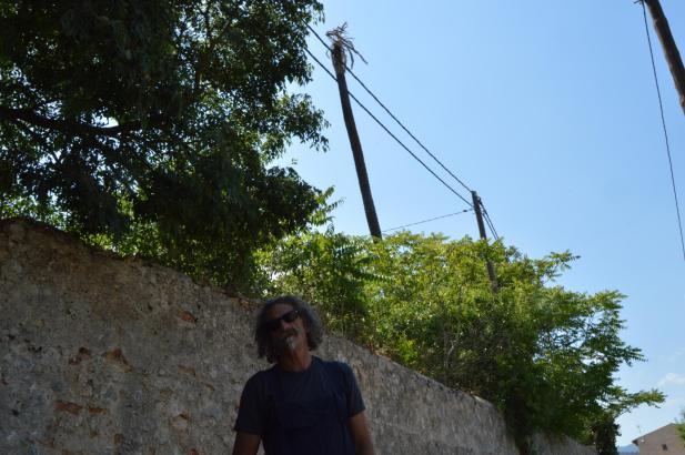 Ein Sprecher der Umweltorganisation Gadma  steht vor der Stamm der abgestorbenen Palme, die sich hinter der Mauer befindet.