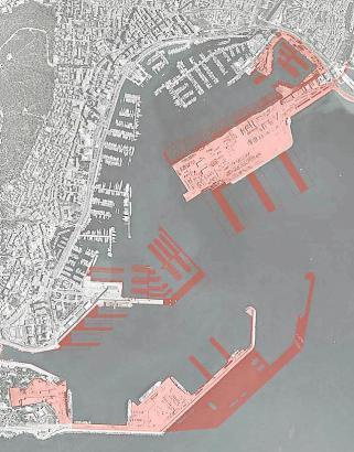 Dieses Makroprojekt mit neuen Einbauten ins Meer (rote Flächen) hatten private Investoren im Jahr 2012 vorgeschlagen.