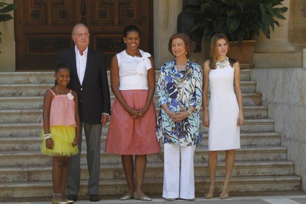 Kurzbesuch: 2010 empfing Königspaar Juan Carlos und Sofía gemeinsam mit Prinzessin Letizia die First Lady der USA zum Lunch.