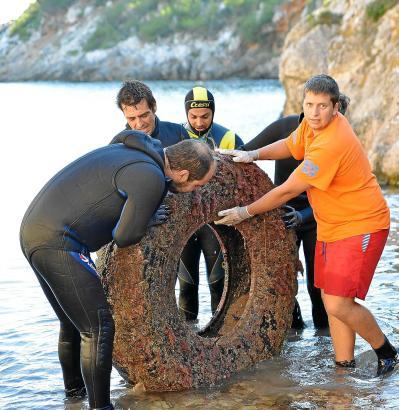Einen Traktorreifen zogen die freiwilligen Reinigungshelfer aus dem Meer