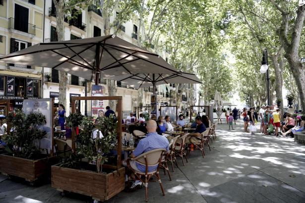Die umstrittenen Gastterrassen in Palma de Mallorca.