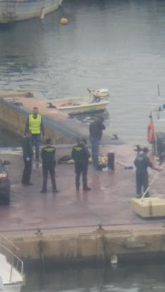 Beamte der Guardia Civil transportieren den Hafen zum Yachtclub von s'Arenal im Süden von Mallorca.