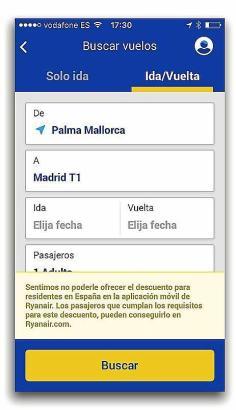 Auch bei der Handyaplikation von Ryanair ist es nicht möglich den Residentenrabatt für Flüge von Mallorca zum Festland auszuwähl