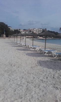 In Colònia de Sant Jordi stehen bereits die ersten Sonnenliegen am Strand