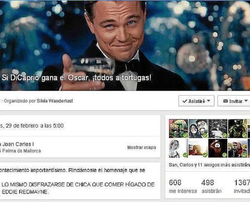 """""""Wenn DiCaprio den Oscar gewinnt: Alle zum Tortugas!"""" So lautet der Titel des Facebook-Events, das Fans des Hollywoodstars zum F"""