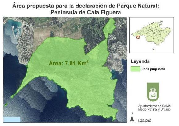 Die grüne Fläche markiert die Ausmaße des beantragten Naturparks von Calvià.