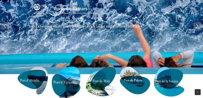 Jetzt auch in Deutsch: Die Homepage der Hafenbehörde der Balearen.
