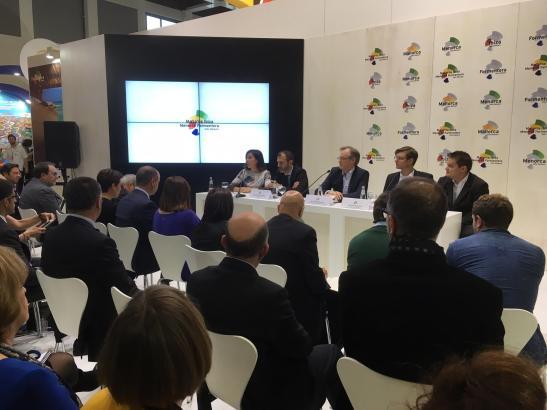 Gesprächsrunde mit Tui-Vertretern in Sachen Tourismus am Balearen-Stand auf der Reisemesse ITB in Berlin.