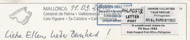Eindeutig zu erkennen: Die Postkarte wurde auf den Philippinen aufgegeben.