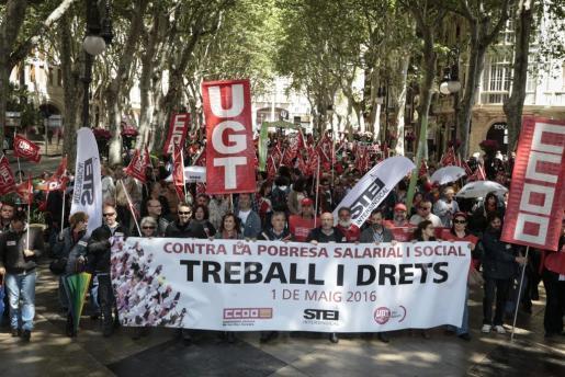 """""""Arbeit und Rechte"""" lautete das Motto der diesjährigen Mai-Kundgebung."""