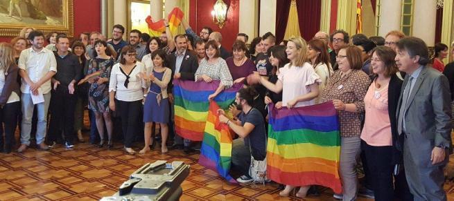 Aus Freude über die Verabschiedung des Gesetzes zeigten Befürworter die Regenbogenfahne der Schwulen und Lesben im Parlament.