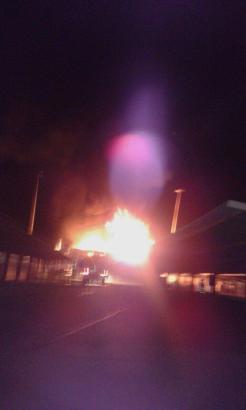 Ein Foto des Brands im Industriegebiet von Manacor im Osten von Mallorca.