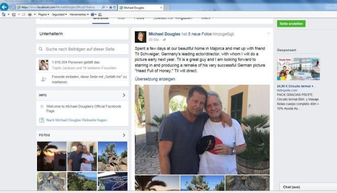 So präsentierte Michael Douglas die Zusammenarbeit auf seiner Facebook-Seite.