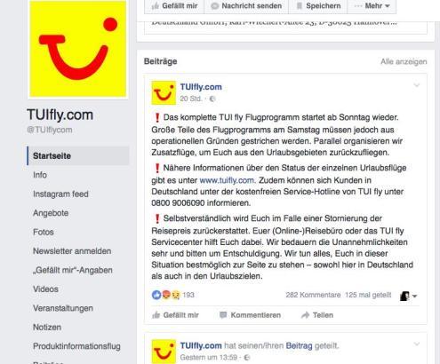 So informierte Tuifly die Passagiere über Facebook