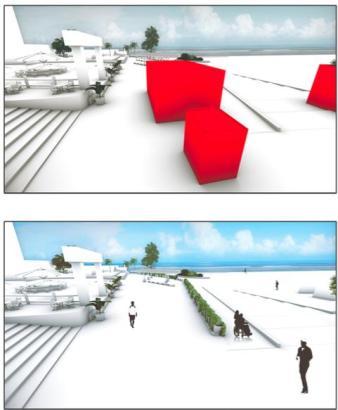 Die roten Bauelemente sollen den Vorschlägen zufolge verschwinden.