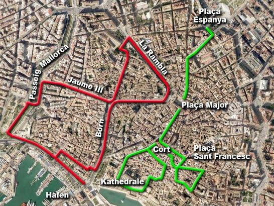 Die beiden Routen für Menschen mit eingeschränkter Mobilität führen mitten durch den historischen Stadtkern.