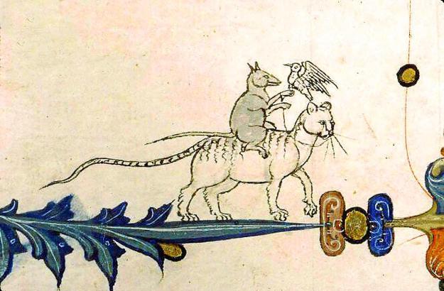 Mittelalterliche Darstellungen von Katzen.