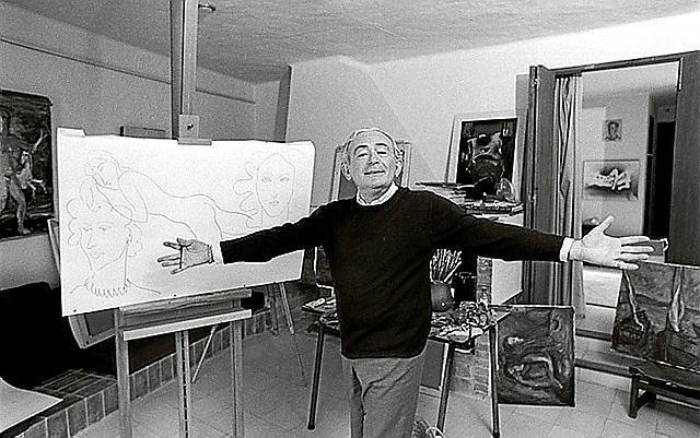 """Elmyr de Hory vor einem seiner Werke """"in der Art"""" der großen Meister. Auch der vermeintliche Modigliani stammt von ihm."""