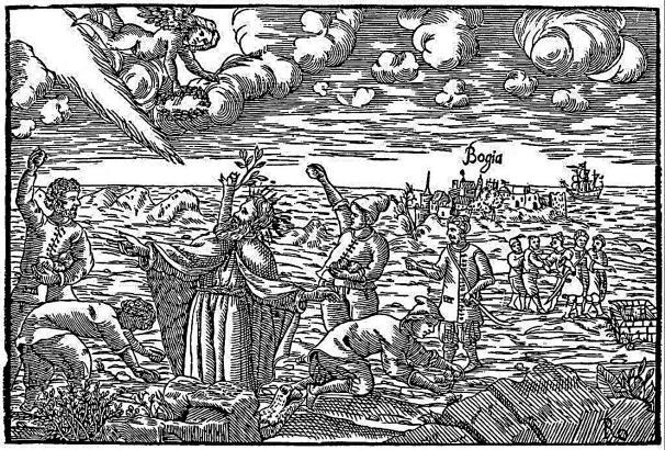 Die Darstellung von der Steinigung Ramon Llulls ist Teil einer Sammlung von 1590 Holzschnitten.