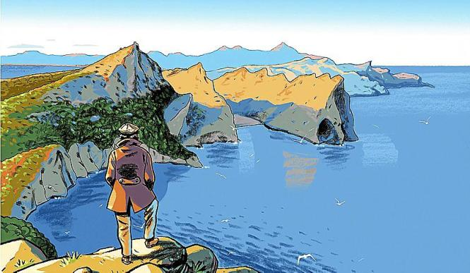 Die Insel im Comic-Stil, gezeichnet von Bartolomé Seguí.