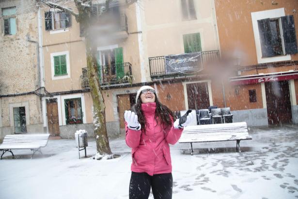 Schnee in Bunyola.