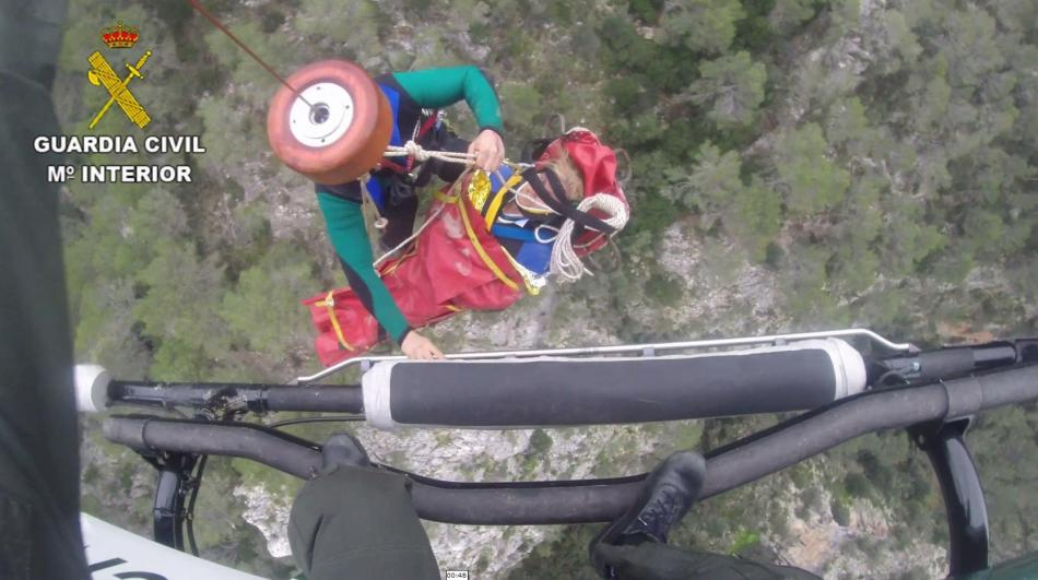 Rettungsaktion aus dem Torrent de Pareis per Hubschrauber.