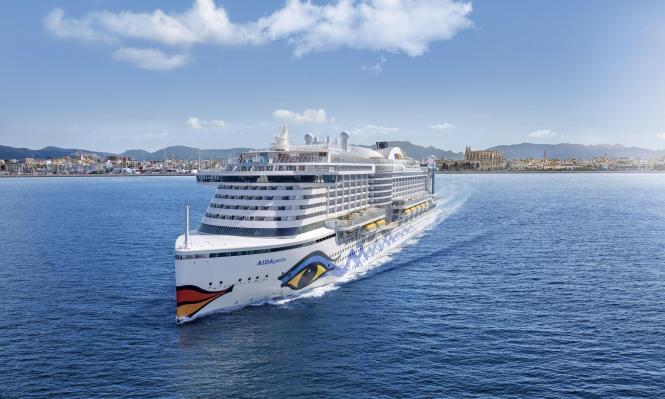 Noch ist es nur eine Animation: So stellt sich Aida-Cruises das Auslaufen der Aida-Perla aus dem Hafen von Palma vor.